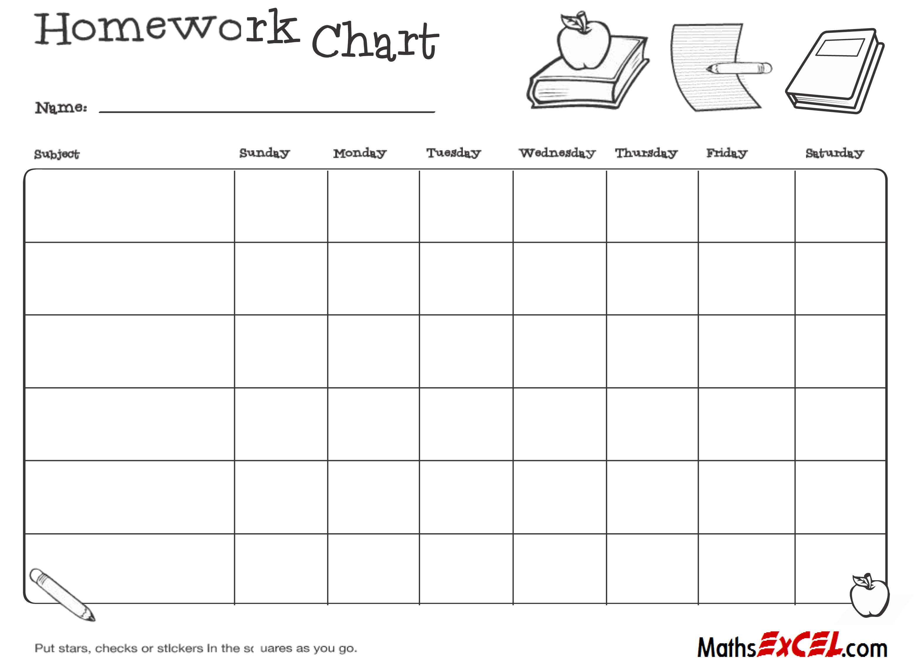 Homework chart weekly
