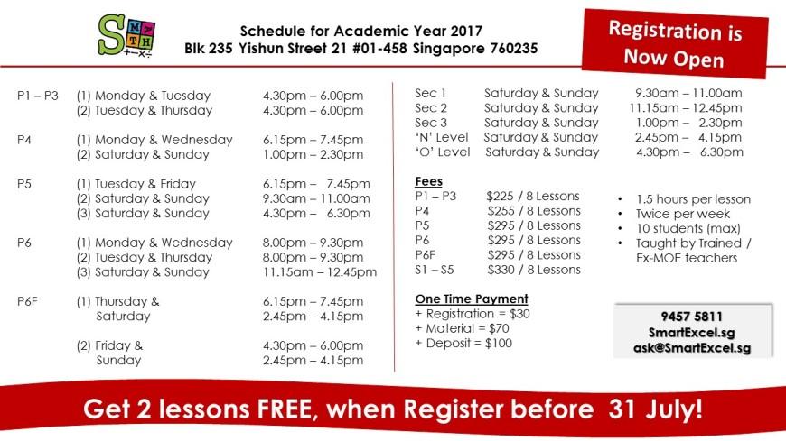 Schedule Yishun- 29.6.17
