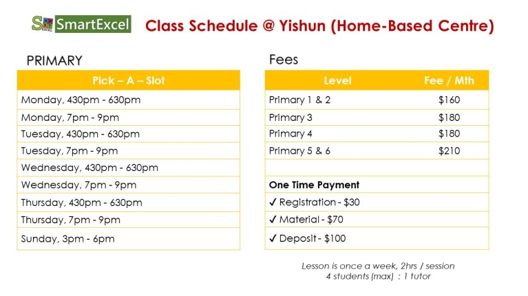 Schedule- Yishun (Sept)