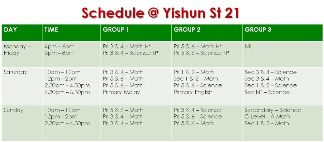 Schedule Yishun- 27.6.18